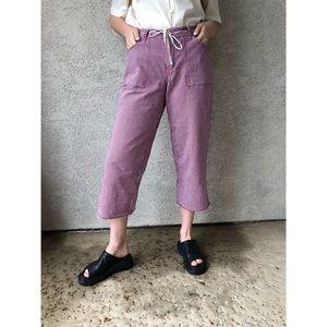 VINTAGE | Striped denim cropped 100% cotton pants